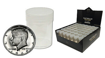 5 Max Pro Round Clear Coin Half Dollar Tubes w/ Screw Cap Silver Kennedy Liberty
