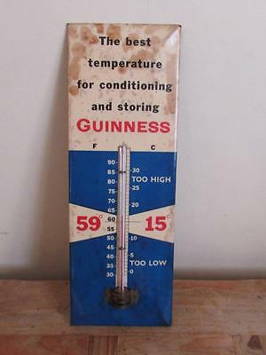 Vintage Guinness Thermometer Tin On Card Advertising Sign - Showcard