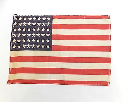 """Antique US FLAG 48 Star Small WWII Era Correct, 7 1/8"""" x 10 1/4"""" (Stains) 0313-2"""