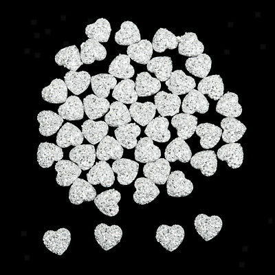50 Silver Resin Rhinestone Heart Flatback Beads for Decor Scrapbooking Craft