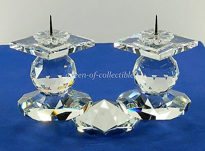 "Swarovski Crystal European Candle Holder 2 Pin Double Light 6"" Wide Signed"
