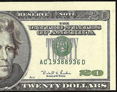 Unc 1996 $20 Dollar Bill Misalignment Shift Error Federal Reserve Note Currency