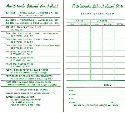 Price list and order form, Rattlesnake Island local post, 1968
