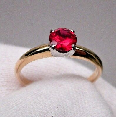 ENGAGEMENT RING Platinum 14K yellow Gold and Ruby NEW OLD STORE STOCK NOSS