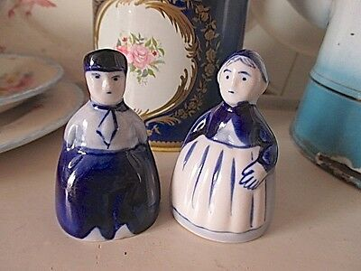 Vintage Delft Blau Figural Salt & Pepper Shakers  Very Sweet!!
