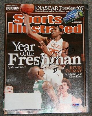 Kevin Durant Signed Sports Illustrated PSA/DNA G27955 Texas Longhorns Auto