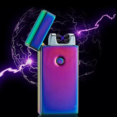 USB Rechargeable Electric Lighter Dual Arc Flameless Windproof Cigarette Torch