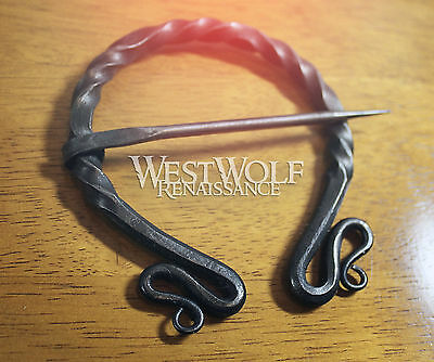 Hand-Forged Twisted Black Steel Brooch - XL Grand Pennanular Cloak Pin - Viking