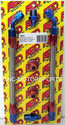 AED BRAIDED Fuel LINE KIT For MALLORY & HOLLEY Regulator Mounting Bracket