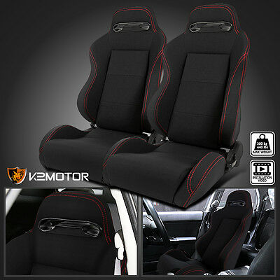 1 Pair JDM Red Stitch PVC Reclinable Style Racing Seats Left+Right