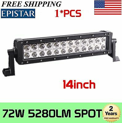 14inch 72W Led Work Light Bar Spot Beam Suv Boat Driving Lamp Offroad 4WD Screw