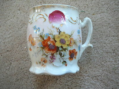"ANTIQUE c. 1900  CHINAWARE MUG CUP  FLORAL PATTERN HAND DECORATED 3.5"" TALL VG"