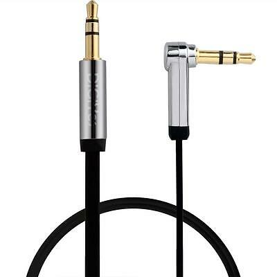 DiGiYes 3.3 Feet 3.5mm Jack Flat to Right Angle Aux Audio Cable for Smart Phones