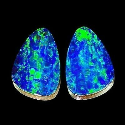 4.10cts Matching Fancy Pair Blue Green Flash Natural Opal Doublet Loose Gemstone