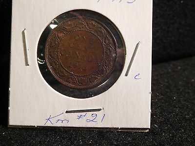 Canada :  1913  Large  Cent   George V   Coin  (Circ)  ( #48 )  Km # 21