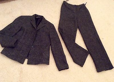 Episode designer black wool tweed suit jacket & trousers size 12 fully lined vgc