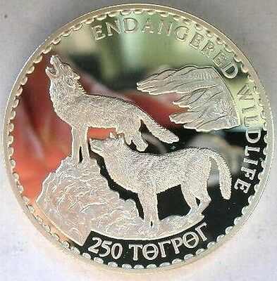 Mongolia 1992 Wolf 250 Tugrik Silver Coin,Proof