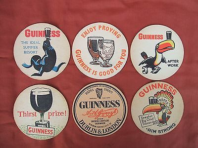 6 Different Vintage Guinness Beer Mats circa 1950s