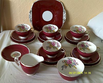 Vintage Adderley   Red, White and Gold 19 Piece Tea Set.