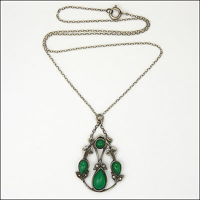 Sterling Silver and Green Glass Leaf Necklace