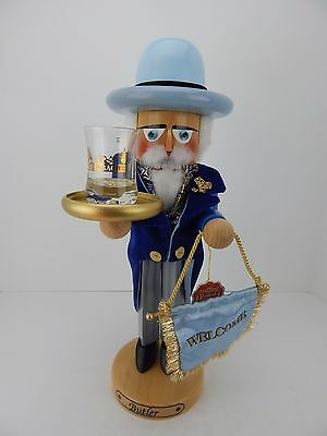Steinbach Nutcracker Butler w/ Shot Glass Has Box Handmade in Germany Signed 3