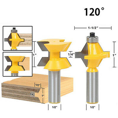 1/2'' Shank Matched Tongue and Groove 120° Router Bit Woodworking Edge Banding