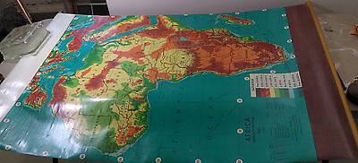Weber-Costello Classroom Map AFRICA Advanced Physical Roll Pull-down Vtg 40X48
