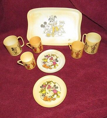 Set of 8 OLD Vintage  Mickey Mouse Plastic  Toy Dishes Tray Walt Disney