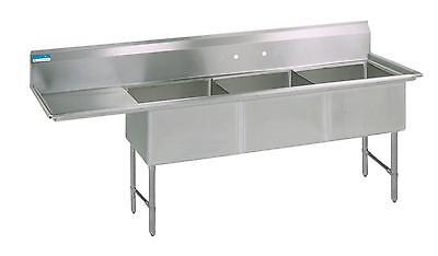"""BK Resources 62""""W (3) Compartment Sink w/ S/s Legs 15"""" Left Drainboard"""