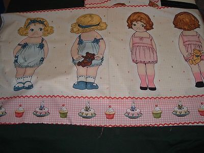 """Vtg 90s Paper Doll 17"""" Cut Sew Toy Penny Rose Riley Blake Fabric Panel 24x44 #ob"""