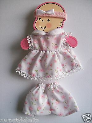 """Doll Clothes pink floral dress set for ooak polymer clay 4 in. 5"""""""