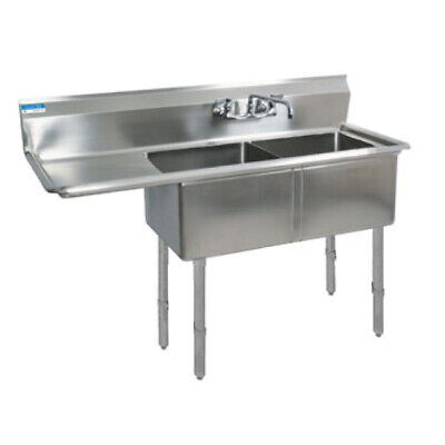 "BK Resources Two 16""x20""x12"" Compartment Sink S/s Leg 18"" Left Drainboard"