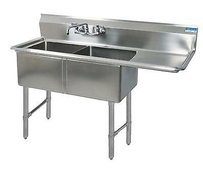 """BK Resources Two 24""""x24""""x14"""" Compartment Sink S/s Legs Drainboard Right - BKS-2-"""