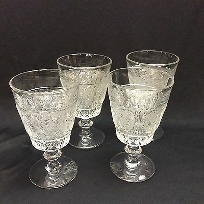 S/4 Duncan Miller Indiana Glass Sandwich Pattern Footed Beverage Glasses