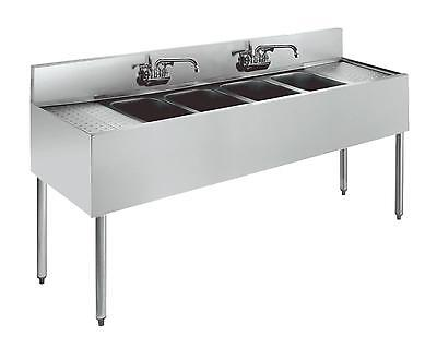 "Krowne Metal 4 Compartment Underbar Sink 21""D w/ Two 24"" Drainboards S/s"