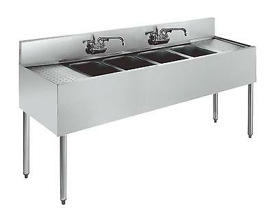 "Krowne Metal 4 Compartment Stainless Bar Sink 21""D w/ Two 12"" Drainboards"