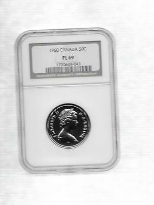 1980  Canada Fifty Cents  Ngc Pl-69  Finest Graded