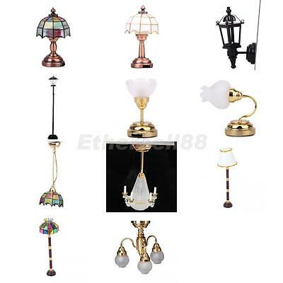 12th Dolls House Wall Desk Table Ceiling LED Lights Lamp Miniature Furniture