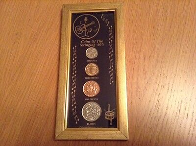 1960's FRAMED COIN SET inc 2 x 1967 an ideal 50th birthday gift present for 2017