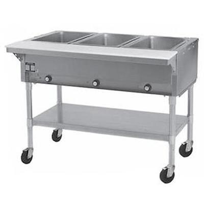 Eagle Group SPDHT3 3-Well Mobile Electric Hot Food Table w/ S/S Shelf & Legs
