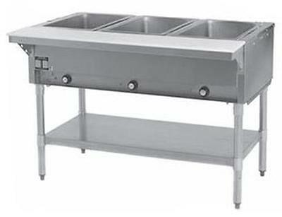 Eagle Group DHT3-1X 3-Well Stationary Electric Hot Food Table & Galvanized Shelf