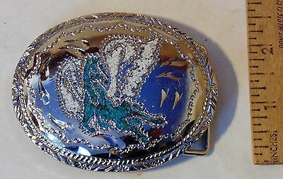 PEGASUS Belt BUCKLE - with TURQUOISE and WHITE CHIP Inlay - 1983 TOMAHAWK mark
