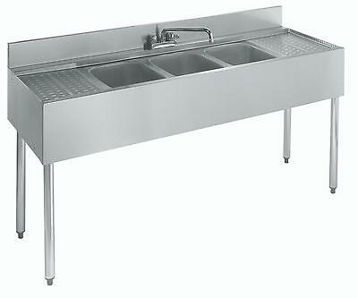 """Krowne Metal 21-53C 3 Compartment Bar Sink 21""""D w/ Two 12"""" Drainboards NSF"""