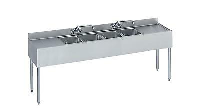 "Krowne Metal 18-74C 4 Compartment Bar Sink 18.5""D Two 18"" Drainboards NSF"