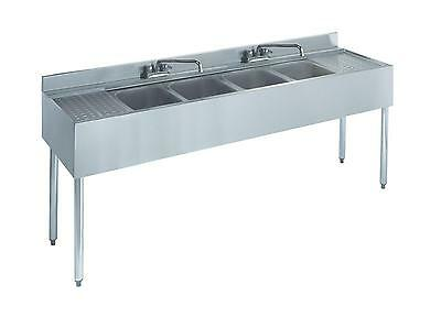"""Krowne Metal 21-64C 4 Compartment Bar Sink 21""""D w/ Two 12"""" Drainboards NSF"""