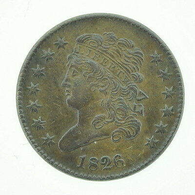 1826 US Half Cent Classic Liberty Head Chocolate Brown Coin Currency