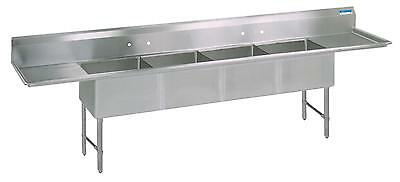 "BK Resources (4) Compartment Sink S/s Leg 18"" Left & Right Drainboard"