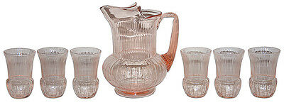 MacBeth Evans Ribbed Pink Pitcher and Glasses / Great with Petalware