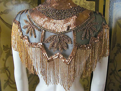 Vintage Victorian Edwardian Style Copper & Black Beaded Collar Fringe and Tassel
