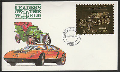 Zambia (384) 1987 Classic Cars - ROLLS ROYCE in 22k gold foil on First day Cover